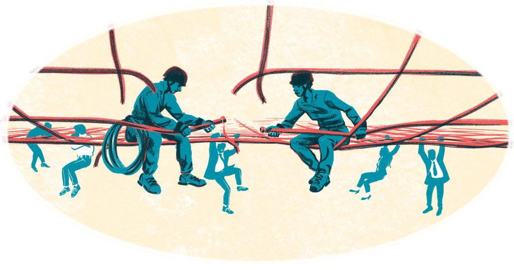 Piirretyt työmiehet rakentavat verkkoa, jolla istuvat.