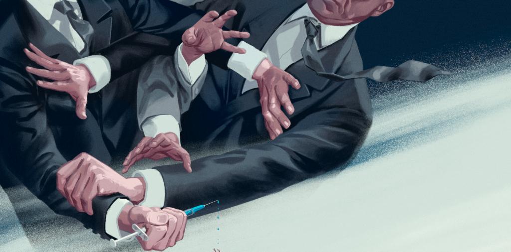 Piirroskuva pukumiehistä taistelemassa rokotepiikistä