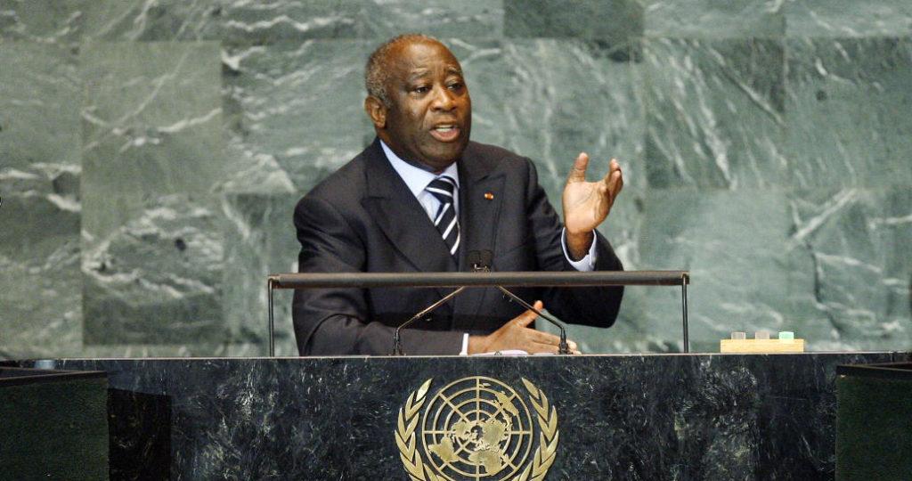 Laurent Gbagbo puhujapöntössä YK:n yleiskokouksessa