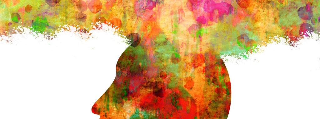 Maalattu kuvituskuva, jossa ajatukset leviävät päälaelta taivaalle.
