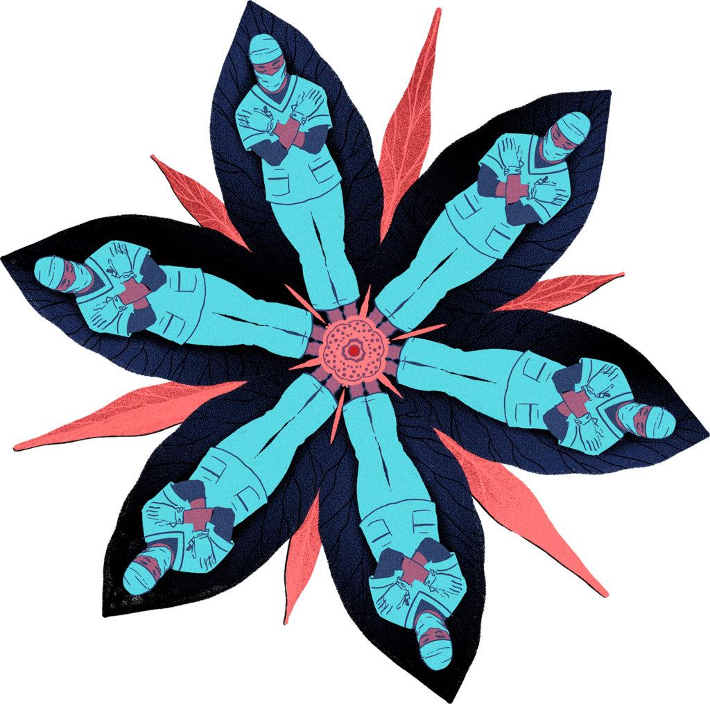 Piirroskuva kukan muotoon asettuneista terveystyöntekijöistä.