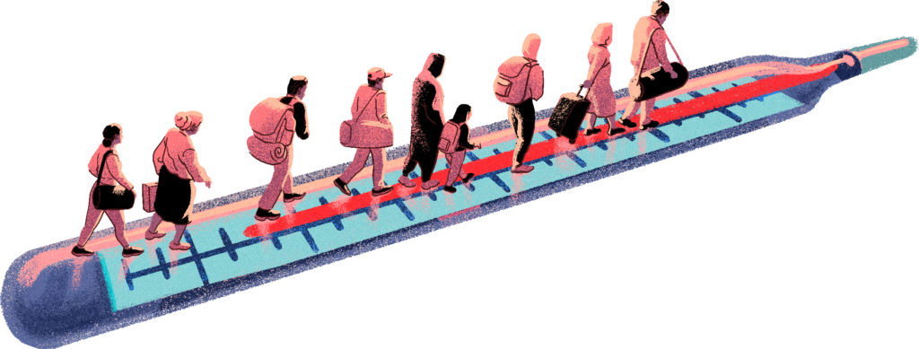 Piirroskuva kuumemittaria pitkin kulkevista ihmisistä, jotka kantavat laukkuja.