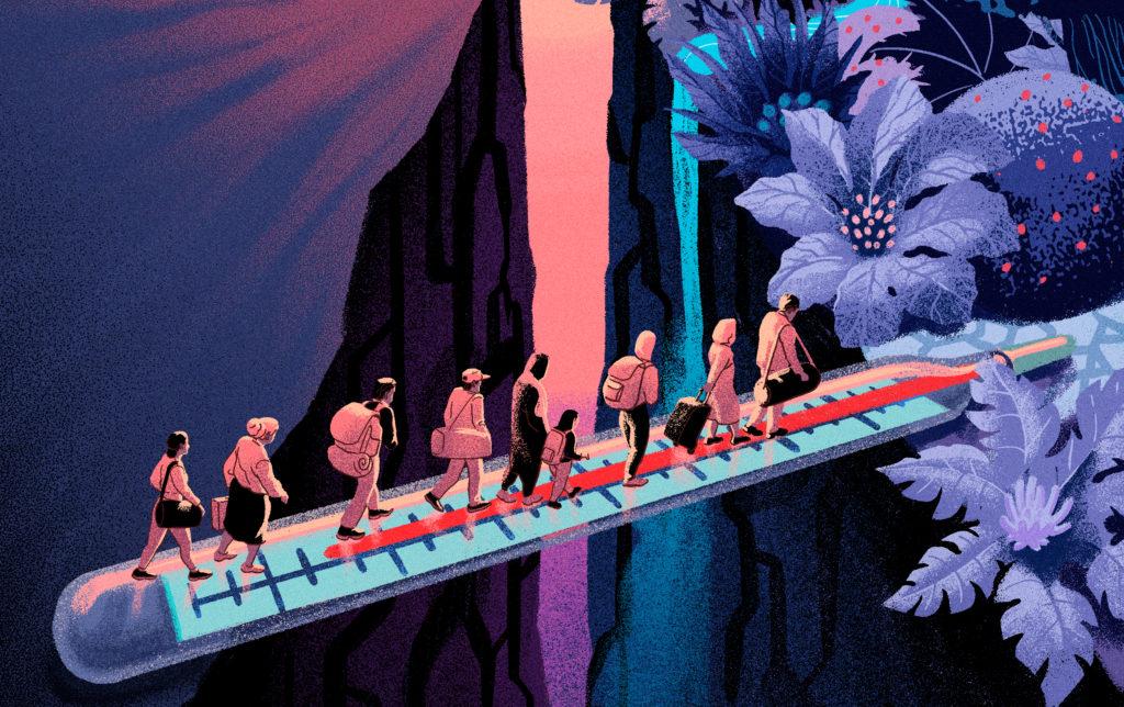 Piirroskuva kuumemittaria pitkin kävelevistä ihmisistä kohti maisemaa, jossa kukkia ja puita.