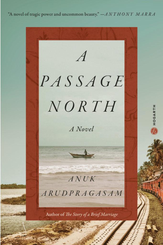 Kirjan kansi, jossa kuva rautatiesta ja veneestä merellä.