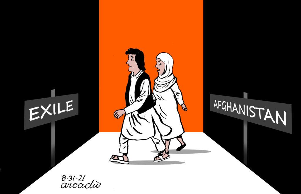 Piirroskuva, jossa mies ja nainen kävelevät kohti exile-kylttiä ja jättävät taakseen Afganistan-kyltin.